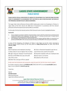 Public Notice on the Filing of Tax Returns